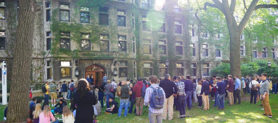 Students gather in front of Kelly, Beecher, and Green buildings, which house the Department of Psychology.