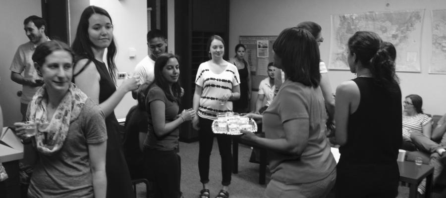 People at an event in the Department of Psychology at the University of Chicago.